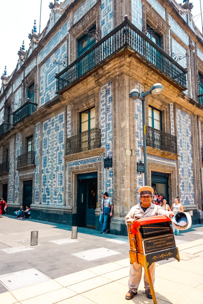 Building covered in tiles azulejos in Mexico City, Mexico