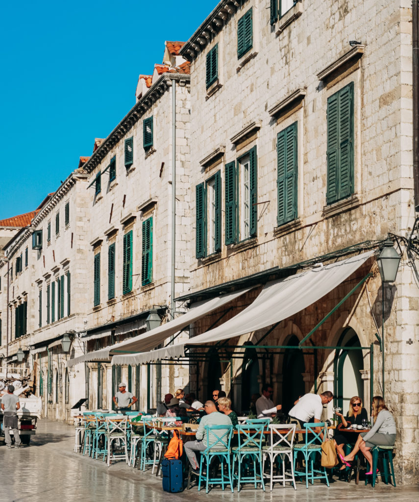 Café on the Stradun in Dubrovnik