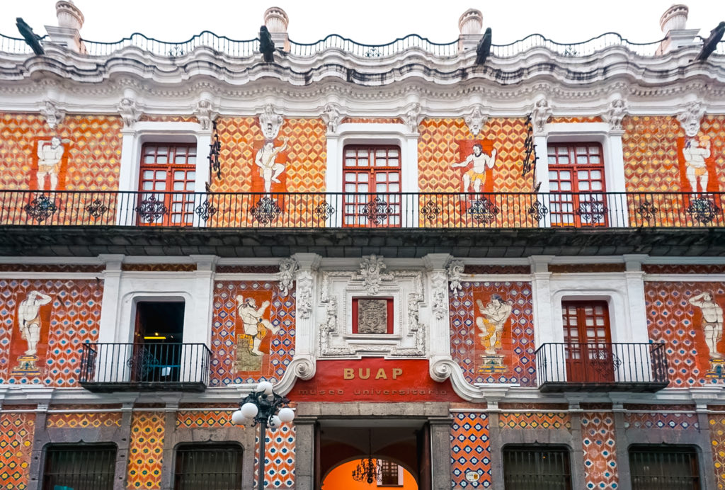 Building covered in tiles azulejos in Puebla, Mexico