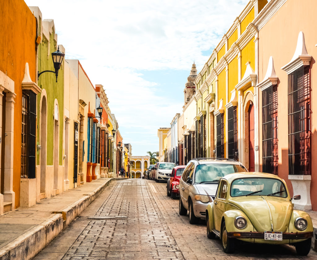 Street and buildings in Campeche, Mexico
